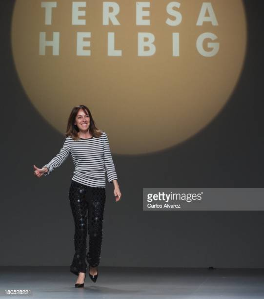 Designer Teresa Helbig waks the runway at Teresa Helbig show during Mercedes Benz Fashion Week Madrid Spring/Summer 2014 on September 14 2013 in...