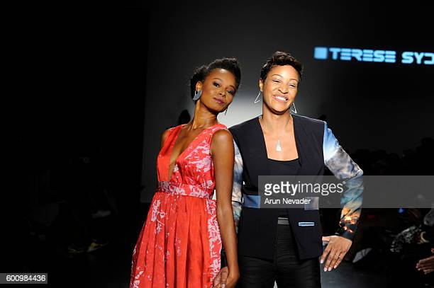 Designer Terese Brown and model walk the runway for Terese Sydonna at the Harlem's Fashion Row fashion show during New York Fashion Week September...