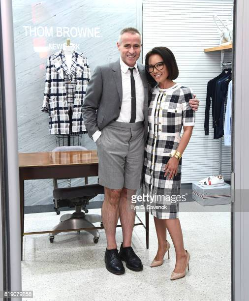 Designer Thom Browne and Alina Cho pose during Surface Magazine Presents Design Dialogues No 37 Featuring Thom Browne and Alina Cho at Dover Street...