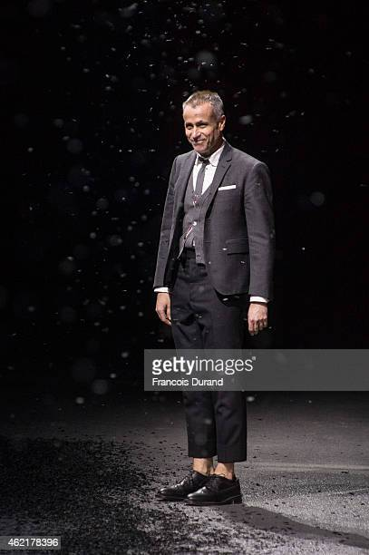 Designer Thom Browne appears on the catwalk after presenting the Thom Browne Menswear Fall/Winter 20152016 show as part of Paris Fashion Week on...