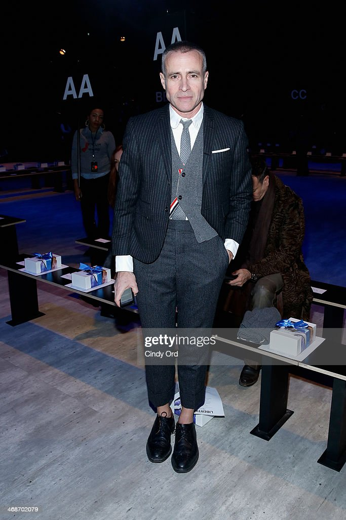 Designer Thom Browne attends the Libertine fashion show during MercedesBenz Fashion Week Fall 2014 at The Pavilion at Lincoln Center on February 11...