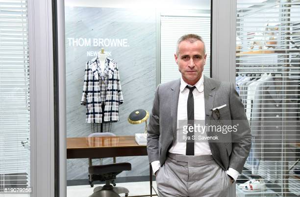 Designer Thom Browne poses during Surface Magazine Presents Design Dialogues No 37 Featuring Thom Browne and Alina Cho at Dover Street Market on July...