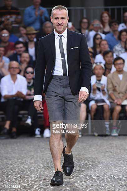 Designer Thom Browne walks the runway during the Moncler Gamme Bleu show as part of Milan Fashion Week Menswear Spring/Summer 2015 on June 22 2014 in...