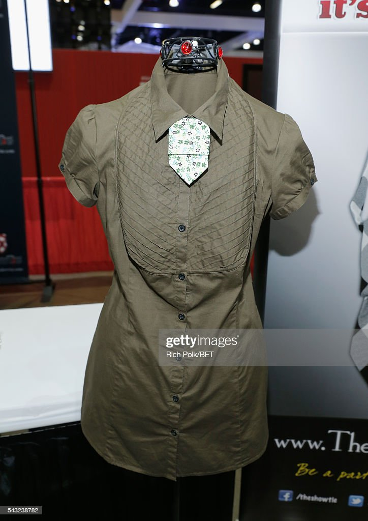 Designer tie is displayed at the Fan Fest during the 2016 BET Experience on June 26, 2016 in Los Angeles, California.