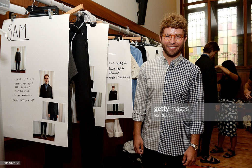 Designer Timo Weiland backstage at Timo Weiland Men's during Mercedes-Benz Fashion Week Spring 2015 at The Highline Hotel on September 3, 2014 in New York City.