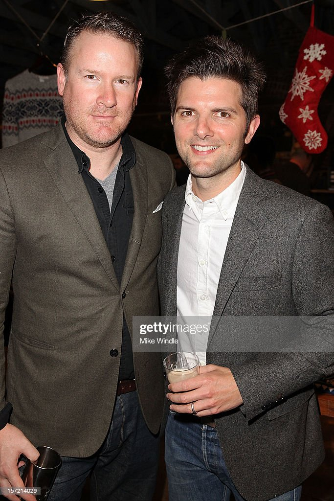 Designer Todd Snyder (L) and actor Adam Scott attend Adam Scott hosts Todd Snyder Event sponsored by Qloo at Confederacy on November 29, 2012 in Los Angeles, California.
