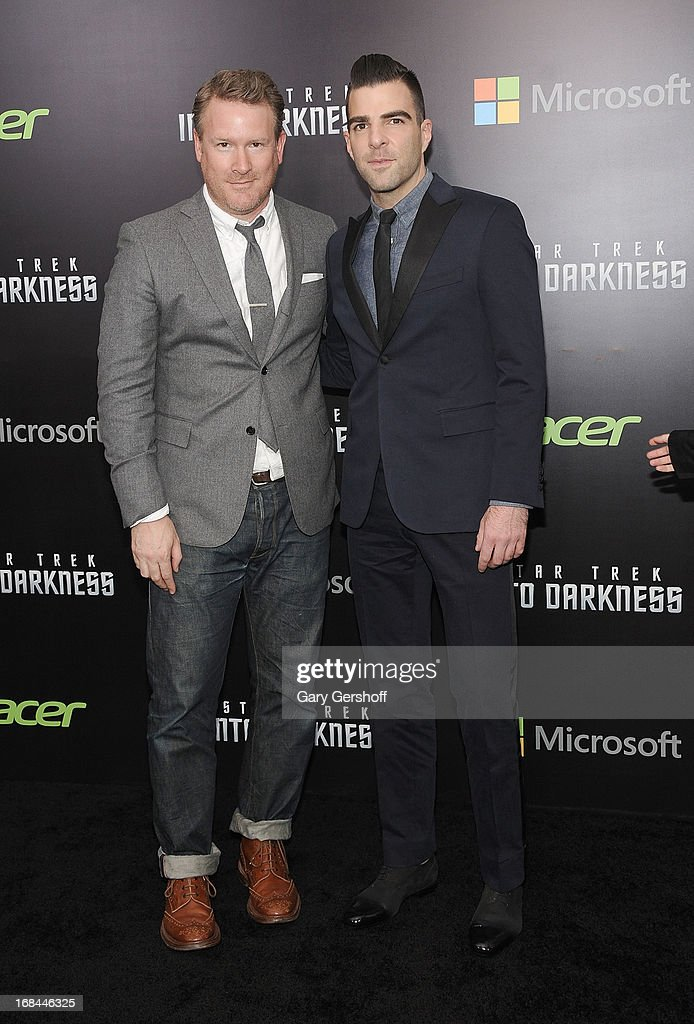 Designer Todd Snyder (L) and actor Zachary Quinto attend the 'Star Trek Into Darkness' screening at AMC Loews Lincoln Square on May 9, 2013 in New York City.