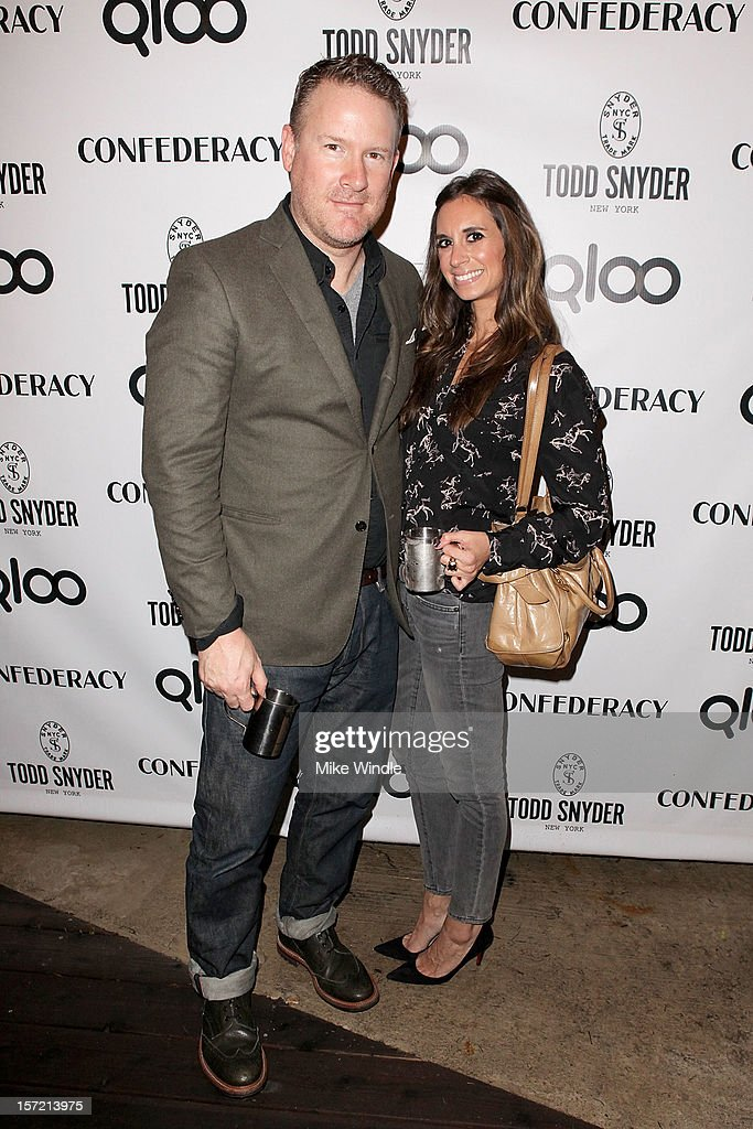 Designer Todd Snyder (L) and guest attend Adam Scott hosts Todd Snyder Event sponsored by Qloo at Confederacy on November 29, 2012 in Los Angeles, California.