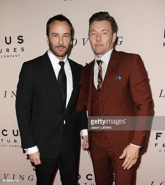 Designer Tom Ford and actor Joel Edgerton attend the premiere of 'Loving' at Samuel Goldwyn Theater on October 20 2016 in Beverly Hills California