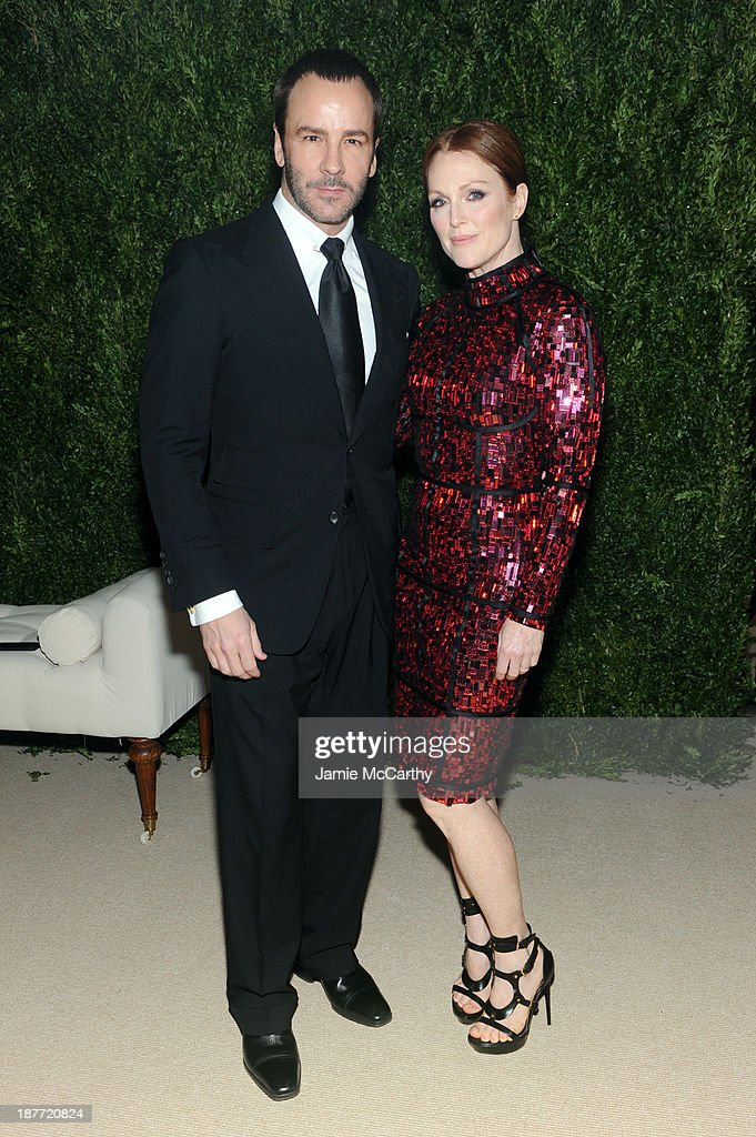 Designer Tom Ford and actress <a gi-track='captionPersonalityLinkClicked' href=/galleries/search?phrase=Julianne+Moore&family=editorial&specificpeople=171555 ng-click='$event.stopPropagation()'>Julianne Moore</a> attend CFDA and Vogue 2013 Fashion Fund Finalists Celebration at Spring Studios on November 11, 2013 in New York City.