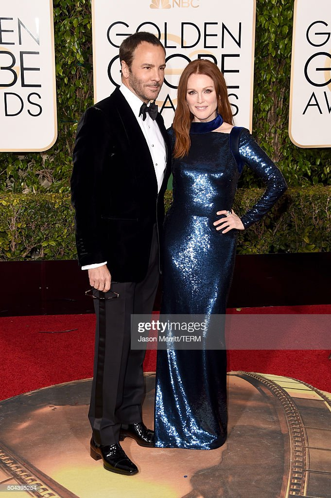 Designer Tom Ford and actress Julianne Moore attend the 73rd Annual Golden Globe Awards held at the Beverly Hilton Hotel on January 10 2016 in...