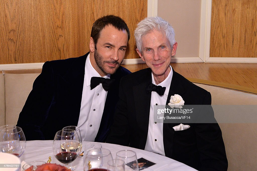 Designer Tom Ford and Richard Buckley attend the 2014 Vanity Fair Oscar Party Viewing Dinner Hosted By Graydon Carter on March 2 2014 in West...