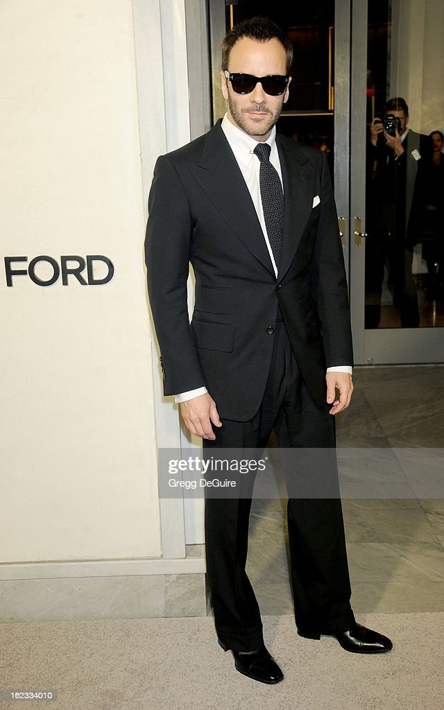 Designer Tom Ford arrives at the Tom Ford cocktail party in support of Project Angel Food at TOM FORD on February 21, 2013 in Beverly Hills, California.