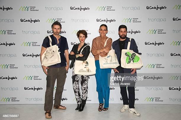Designer Tom Pernas singer Vega model Laura Ponte and designer Moises Nieto present their new charity Bags collection at the Corte Ingles Castellana...