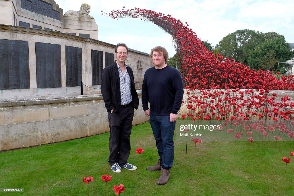 Designer Tom Piper and Artist Paul Cummins attend the poppy sculpture 'Wave' opening at the CWGC Naval Memorial, as part of a UK wide tour organised by 14-18 NOW on August 22, 2017 in Plymouth, England.