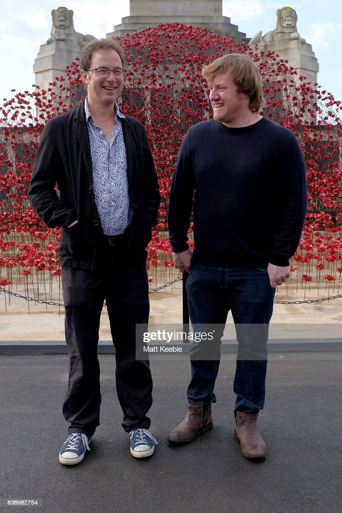 Designer Tom Piper and Artist Paul Cummins attending the poppy sculpture 'Wave' opening at the CWGC Naval Memorial, as part of a UK wide tour organised by 14-18 NOW on August 22, 2017 in Plymouth, England.