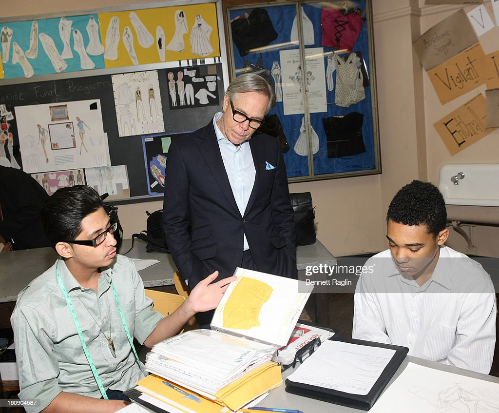 Designer Tommy Hifiger attends the High School For Fashion Industries during the Tommy Hilfiger And Chancellor Walcott Kick Off Fashion Week By Going Back To School at High School For Fashion Industries on February 7, 2013 in New York City.