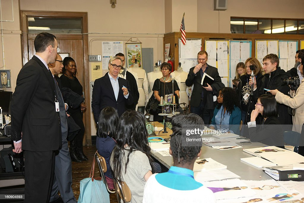Designer Tommy Hifiger speakers to students at the High School For Fashion Industries during the Tommy Hilfiger And Chancellor Walcott Kick Off Fashion Week By Going Back To School at High School For Fashion Industries on February 7, 2013 in New York City.