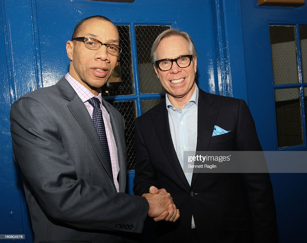 Designer Tommy Hilfiger (R) and Chancellor Dennis Walcott Kick Off Fashion Week By Going Back To School at High School For Fashion Industries on February 7, 2013 in New York City.