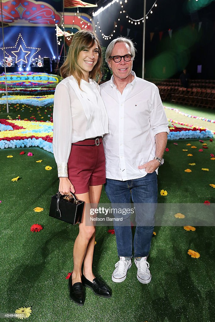 Designer Tommy Hilfiger and journalist Alexa Chung poses backstage at Tommy Hilfiger Women's fashion show during MercedesBenz Fashion Week Spring...