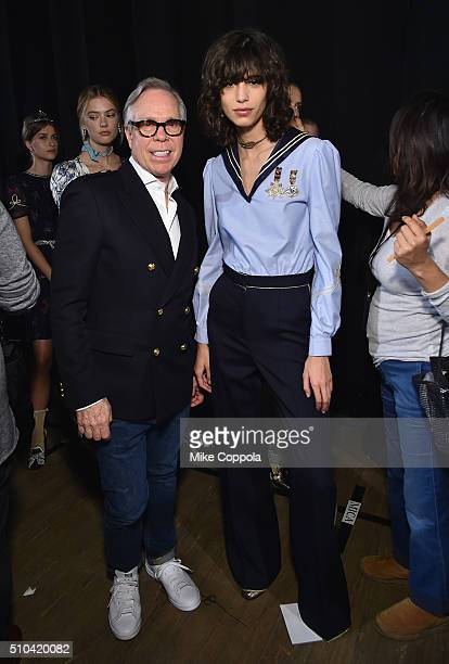 Designer Tommy Hilfiger and Mica Arganaraz backstage at the Tommy Hilfiger Women's Fall 2016 show during New York Fashion Week The Shows at Park...
