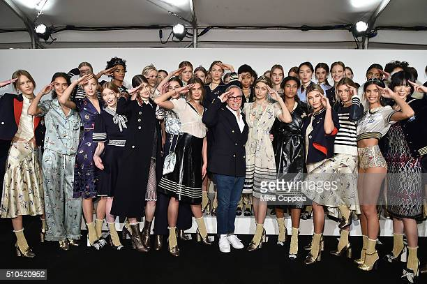 Designer Tommy Hilfiger and models pose backstage at the Tommy Hilfiger Women's Fall 2016 show during New York Fashion Week The Shows at Park Avenue...