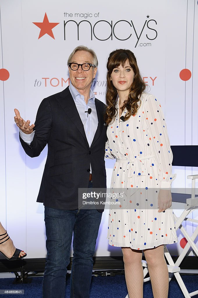 Designer <a gi-track='captionPersonalityLinkClicked' href=/galleries/search?phrase=Tommy+Hilfiger+-+Fashion+Designer&family=editorial&specificpeople=4442212 ng-click='$event.stopPropagation()'>Tommy Hilfiger</a> and <a gi-track='captionPersonalityLinkClicked' href=/galleries/search?phrase=Zooey+Deschanel&family=editorial&specificpeople=202927 ng-click='$event.stopPropagation()'>Zooey Deschanel</a> attend the 'To Tommy, From Zooey' Launch at Macy's Herald Square on April 14, 2014 in New York City.