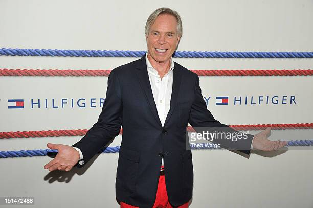 Designer Tommy Hilfiger poses backstage at the Tommy Hilfiger Men's Spring 2013 fashion show during MercedesBenz Fashion Week at Maritime Hotel on...