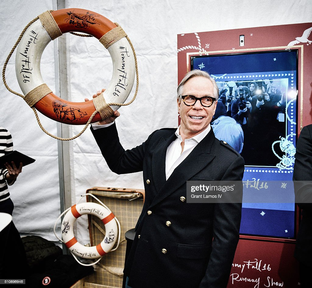 Designer <a gi-track='captionPersonalityLinkClicked' href=/galleries/search?phrase=Tommy+Hilfiger+-+Fashion+Designer&family=editorial&specificpeople=4442212 ng-click='$event.stopPropagation()'>Tommy Hilfiger</a> poses backstage at the <a gi-track='captionPersonalityLinkClicked' href=/galleries/search?phrase=Tommy+Hilfiger+-+Fashion+Designer&family=editorial&specificpeople=4442212 ng-click='$event.stopPropagation()'>Tommy Hilfiger</a> Women's Fall 2016 show during New York Fashion Week: The Shows at Park Avenue Armory on February 15, 2016 in New York City.