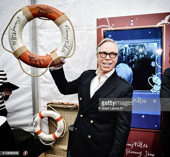 Designer Tommy Hilfiger poses backstage at the Tommy Hilfiger Women's Fall 2016 show during New York Fashion Week The Shows at Park Avenue Armory on...