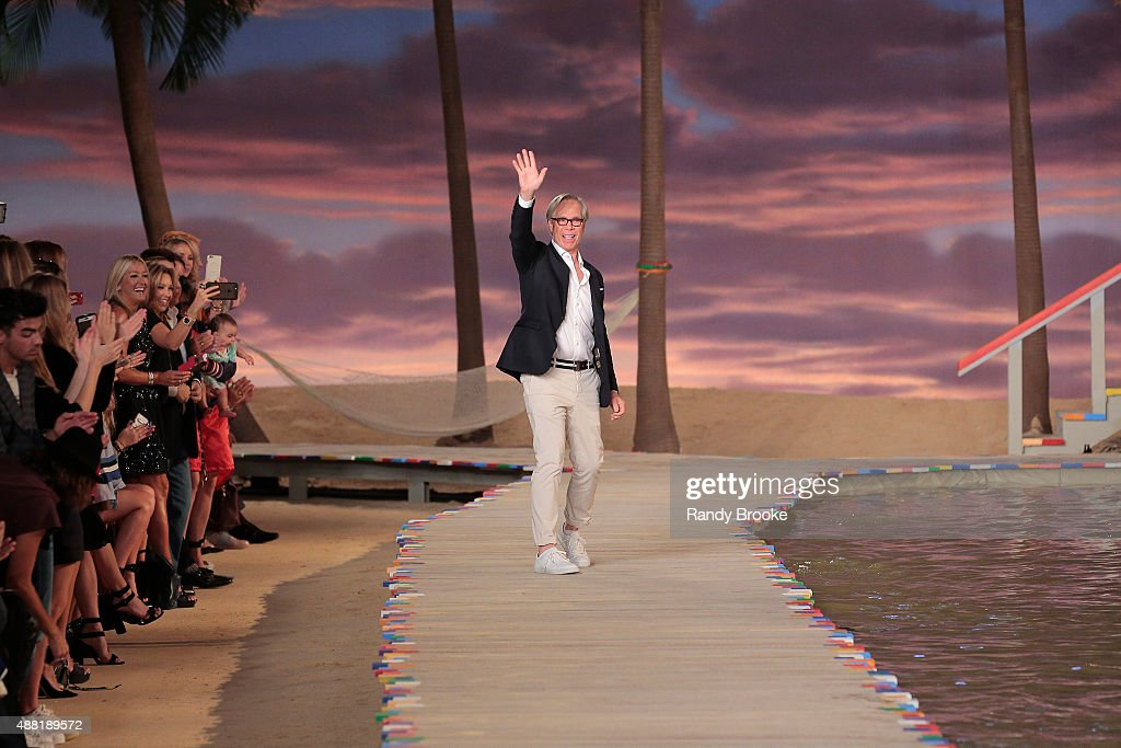 Designer Tommy Hilfiger walks the runway at Tommy Hilfiger Women's Spring 2016 during New York Fashion Week The Shows at Pier 36 on September 14 2015...