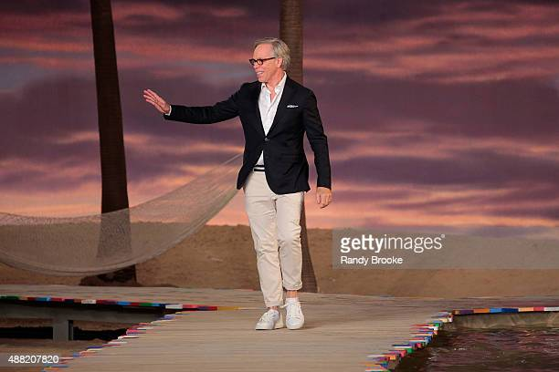 Designer Tommy Hilfiger walks the runway for Women's Spring 2016 during New York Fashion Week The Shows at Pier 36 on September 14 2015 in New York...