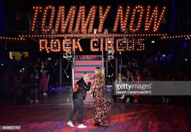 Designer Tommy Hilfiger with Gigi Hadid on the runway at the Tommy Hilfiger show during London Fashion Week September 2017 on September 19 2017 in...