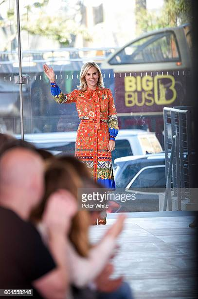 Designer Tory Burch acknowledges the applause of the audience after the Tory Burch Women's Fashion Show during New York Fashion Week on September 13...
