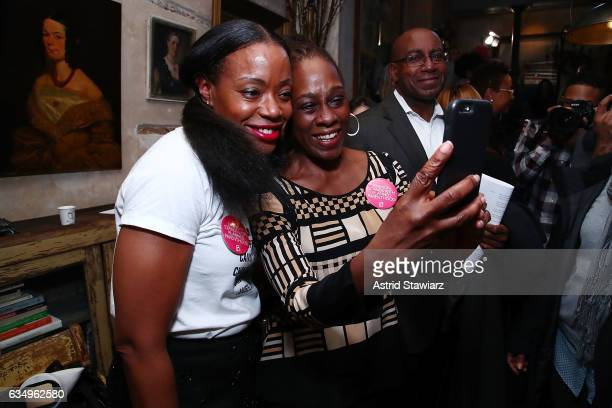 Designer Tracy Reese and First Lady of New York City Chirlane McCray take a selfie during the Tracy Reese presentation held at 632 Hudson during New...