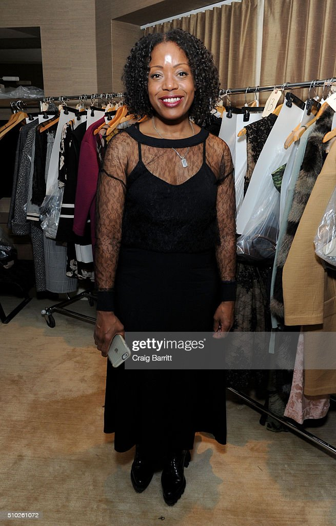 Designer Tracy Reese is seen backstage during Mary Kay at Tracy Reese F/W '16- Presentation during New York Fashion Week at Roxy Hotel on February 14, 2016 in New York City.