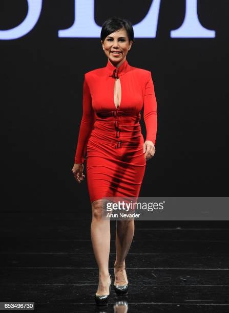 Designer Trang Phung walks the runway at Art Hearts Fashion LAFW Fall/Winter 2017 Day 1 at The Beverly Hilton Hotel on March 14 2017 in Beverly Hills...