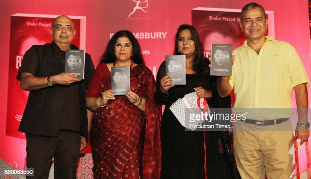 Designer Traun Tahiliani author Shabri Prasad Singh and Neuropsychiatrist Sanjay Chugh during the launch of the nonfiction book Borderline at the...