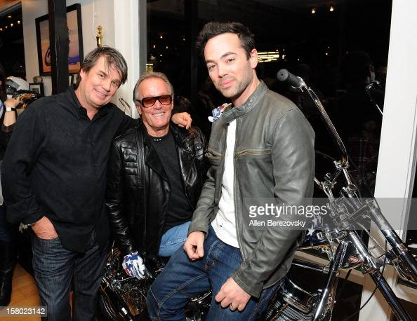 Designer Troy Lee actor Peter Fonda and actor John Hensley attend the launch of Peter Fonda's new men's fashion line and protective riding gear...