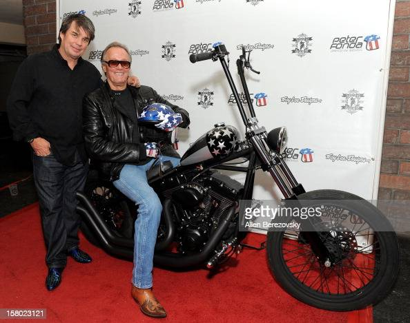 Designer Troy Lee and actor Peter Fonda attend the launch of Peter Fonda's new men's fashion line and protective riding gear collection for Troy Lee...