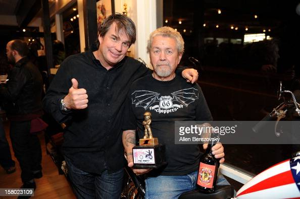 Designer Troy Lee and awardwinning bike owner Jim Beck attend the launch of Peter Fonda's new men's fashion line and protective riding gear...