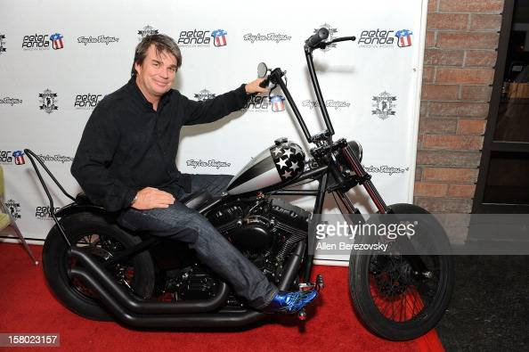 Designer Troy Lee attends the launch of Peter Fonda's new men's fashion line and protective riding gear collection for Troy Lee Designs at Troy Lee...