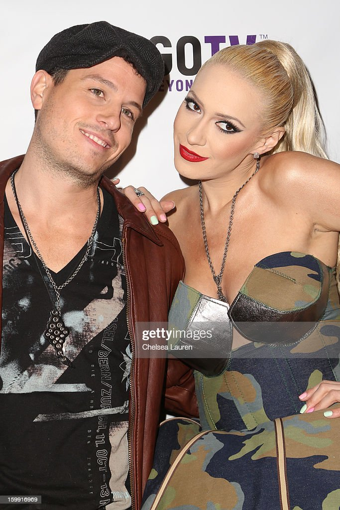 Designer / TV personality Traver Rains (L) and singer Kaya Jones arrive at 'Rupaul's Drag Race' season 5 premiere party at The Abbey on January 22, 2013 in West Hollywood, California.