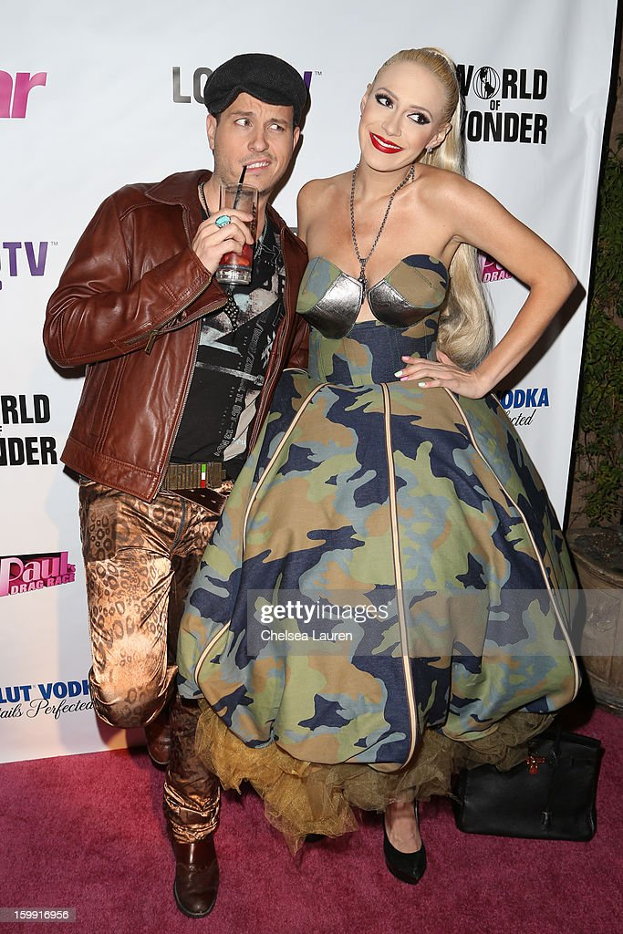 Designer / TV personality Traver Rains (L) and singer Kaya Jones arrives at 'Rupaul's Drag Race' season 5 premiere party at The Abbey on January 22, 2013 in West Hollywood, California.