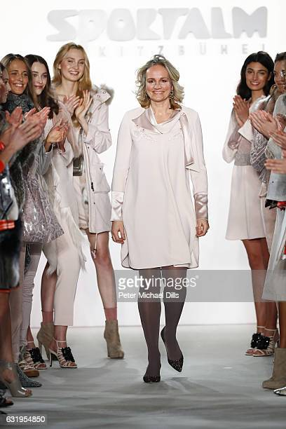 Designer Ulli Ehrlich acknowleges the applause of the audience at the end of the Sportalm show during the MercedesBenz Fashion Week Berlin A/W 2017...