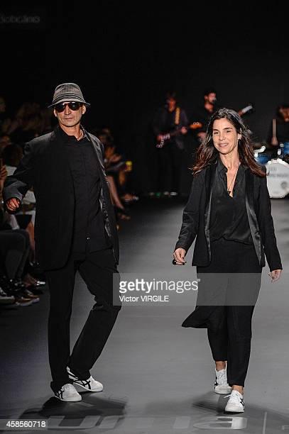 Designer Uma Raquel Davidowicz walks the runway at the Uma Raquel Davidowicz fashion show during Sao Paulo Fashion Week Winter 2015 at Parque Candido...