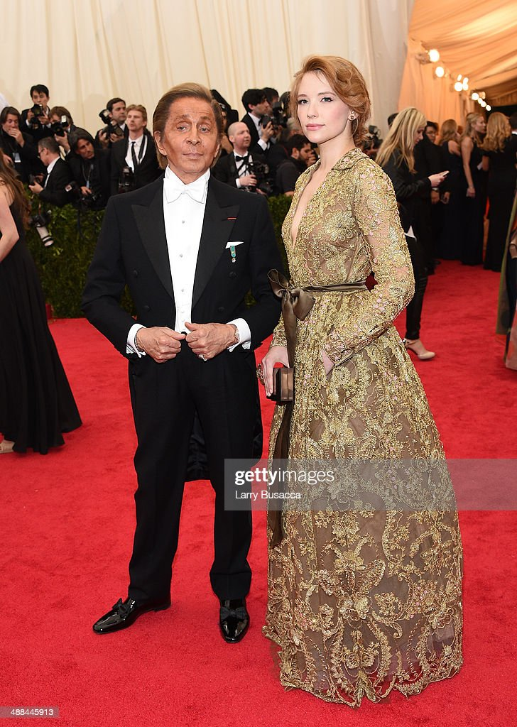 Designer Valentino Garavani (L) and actress Haley Bennett attend the 'Charles James: Beyond Fashion' Costume Institute Gala at the Metropolitan Museum of Art on May 5, 2014 in New York City.