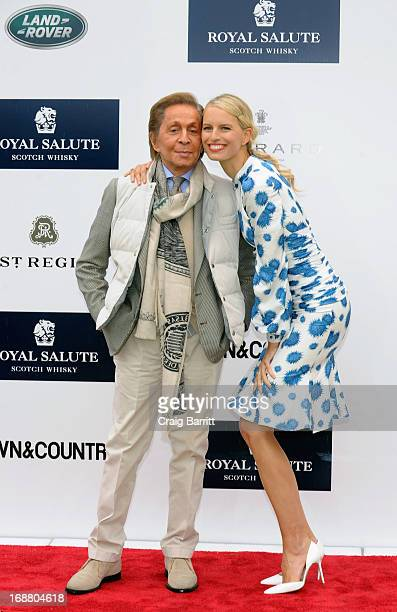 Designer Valentino Garavani and model Karolina Kurkova at the 2013 Sentebale Royal Salute Polo Cup at the Greenwich Polo Club where Land Rover is the...