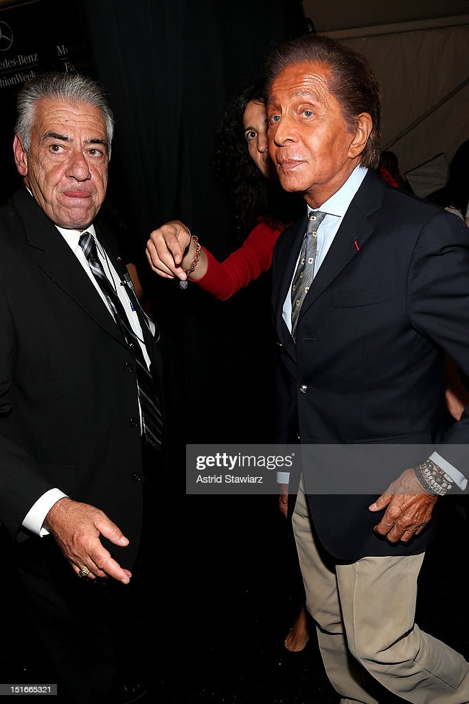 Designer Valentino Garavani (R) backstage at the Diane Von Furstenberg Spring 2013 fashion show during Mercedes-Benz Fashion Week at The Theatre at Lincoln Center on September 9, 2012 in New York City.