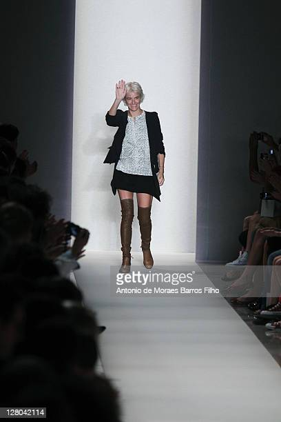 Designer Vanessa Bruno walks the runway during the Vanessa Bruno Ready to Wear Spring / Summer 2012 show during Paris Fashion Week at Palais de...